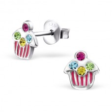 E01362-PK Sterling Silver Cupcake Ear Rings with epoxy & crystals