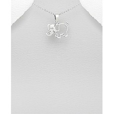 P18147-SS  Sterling Silver Elephant Pendant Necklace