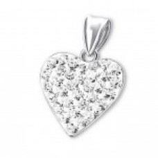 P00036-CR   Sterling Silver Crystal Heart Pendant Necklace