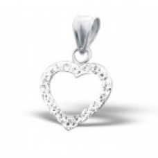 P01080-CR   Sterling silver crystal heart pendant necklace