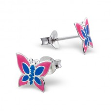E00014-BL Sterling Silver Butterfly ear ring  with epoxy