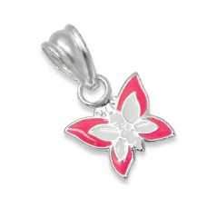 P00014-WH  Sterling Silver Butterfly Pendant Necklace with epoxy