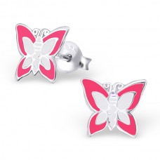 E00014-WH Sterling Silver Butterfly ear ring  with epoxy