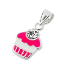 P01057-CR   Sterling Silver epoxy cupcake with crystal pendant necklace