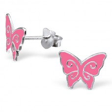 E00333-PK Sterling  Silver Butterfly Ear rings with epoxy