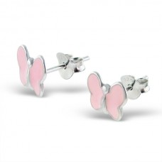E00040-PK Sterling Silver Butterfly Ear rings with epoxy