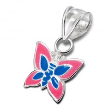 P00014-BL   Sterling Silver Butterfly Pendant Necklace with epoxy