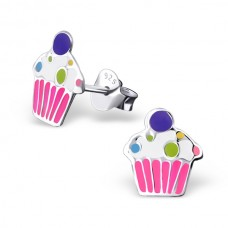 E01388-PK Sterling Silver Cupcake Ear rings with epoxy