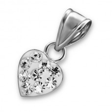 P00018-CR   Sterling Silver Crystal Heart Pendant Necklace