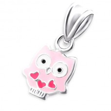 P01464-PK  Sterling silver pink heart owl pendant necklace