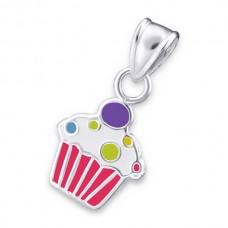 P01388-PK Sterling silver epoxy cupcake pendant necklace