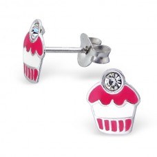 E00055-CR Sterling Silver Cupcake Ear rings with crystal cherry