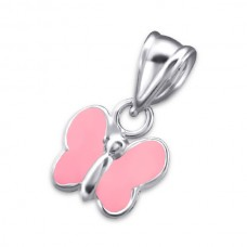 P00040-PK   Sterling silver Pink butterfly pendant necklace