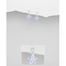 EE1146-BL   Sterling Silver Drop Flower Ear rings