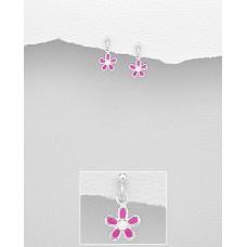 EE1146-PK   Sterling Silver Drop Flower Ear rings