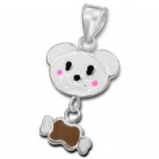 P01254-WH   Sterling Dog & Bone Pendant Necklace with epoxy