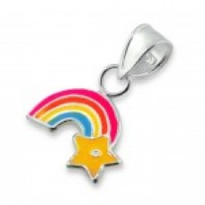 P00355-MX Sterling Silver Rainbow Pendant Necklace with epoxy