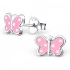 E01170-PK Sterling Silver polka dot butterfly Ear Rings with epoxy