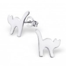 E01461-WH   Sterling Silver White cat Ear rings
