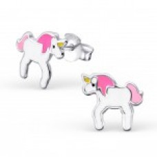 E01459-PK   Sterling Silver unicorn Ear rings with epoxy
