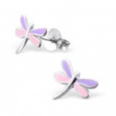 E00042-PU Sterling Silver Dragon fly Ear rings