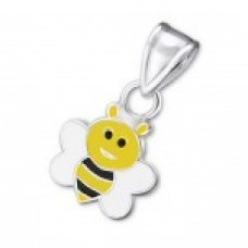 P01626-YE   Sterling Silver Bee Pendant Necklace with epoxy