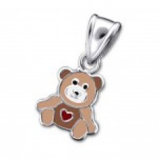 P01471-BR   Sterling Silver teddy bear Pendant Necklace with epoxy