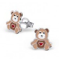 E01471-BR    Sterling Silver Brown teddy bear Ear rings with heart tummy