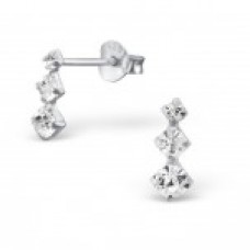E00026-CR Sterling Silver Ear rings with 3 small clear crystals