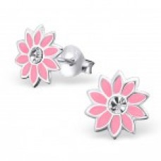 E00053-PK Sterling Silver Flower Ear rings with clear crystals