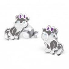 E01772-GY   Sterling Silver grey CAT Ear rings