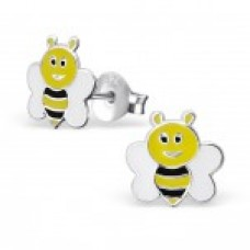 E01626-YE   Sterling Silver Bee ear rings with epoxy