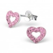 E01053-PK Sterling Silver Open Heart Crystal Ear rings