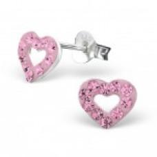 E01053-PK Sterling Silver Open Heart Crystal Ear rings