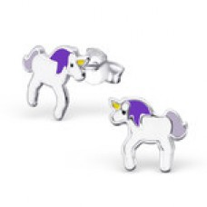 E01459-PU   Sterling Silver unicorn Ear rings with epoxy