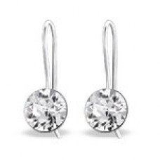 A01656-CR    Sterling silver crystal hook ear rings