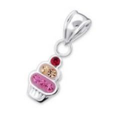 P01506-PK   Sterling silver cupcake pendant necklace