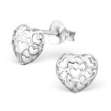 A00679-SS Sterling silver heart in heart ear rings