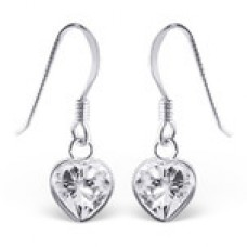 A000H7-SS Sterling silver crystal heart hook ear rings