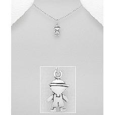 P01211-SS   Sterling silver BOY pendant necklace