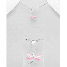 P01240-PK   Sterling silver dragonfly pendant necklace