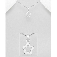 PE1249-SS   Sterling silver flower pendant necklace