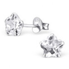 E00004-CR Sterling Silver Star stud Ear rings