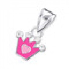 P01765-PK   Sterling Silver pink crown with crystal pendant necklace