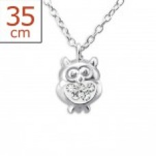 P00010-CR Sterling Silver Owl Pendant Necklace with crystals