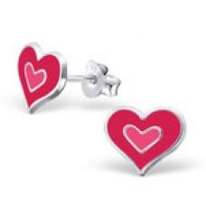 E00363-PK Sterling Silver heart-heart ear ring  with epoxy