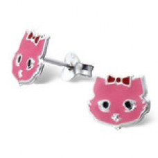 E01466-PK  Sterling Silver cat Ear Rings with epoxy