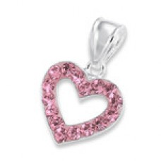 P00169-PK  Sterling Silver Open Heart Crystal Pendant Necklace