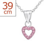 P01421-PK  Sterling Silver Open Heart Pendant Necklace with crystals