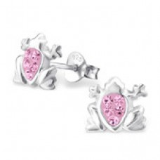 E0FG10-PK  Sterling Silver Frog Ear rings with crystal centre
